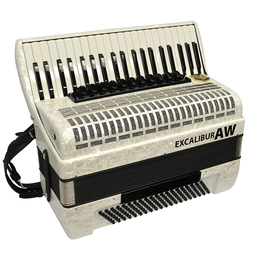 Excalibur Akordeon Werks (AW) 120 Bass Piano Accordion - Pearl White