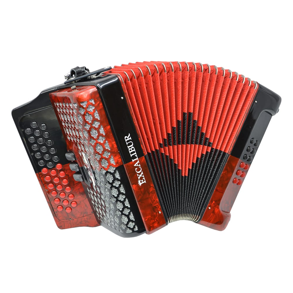 Excalibur Super Classic PSI 3 Row Button Accordion - Red/Black -  Key of GCF