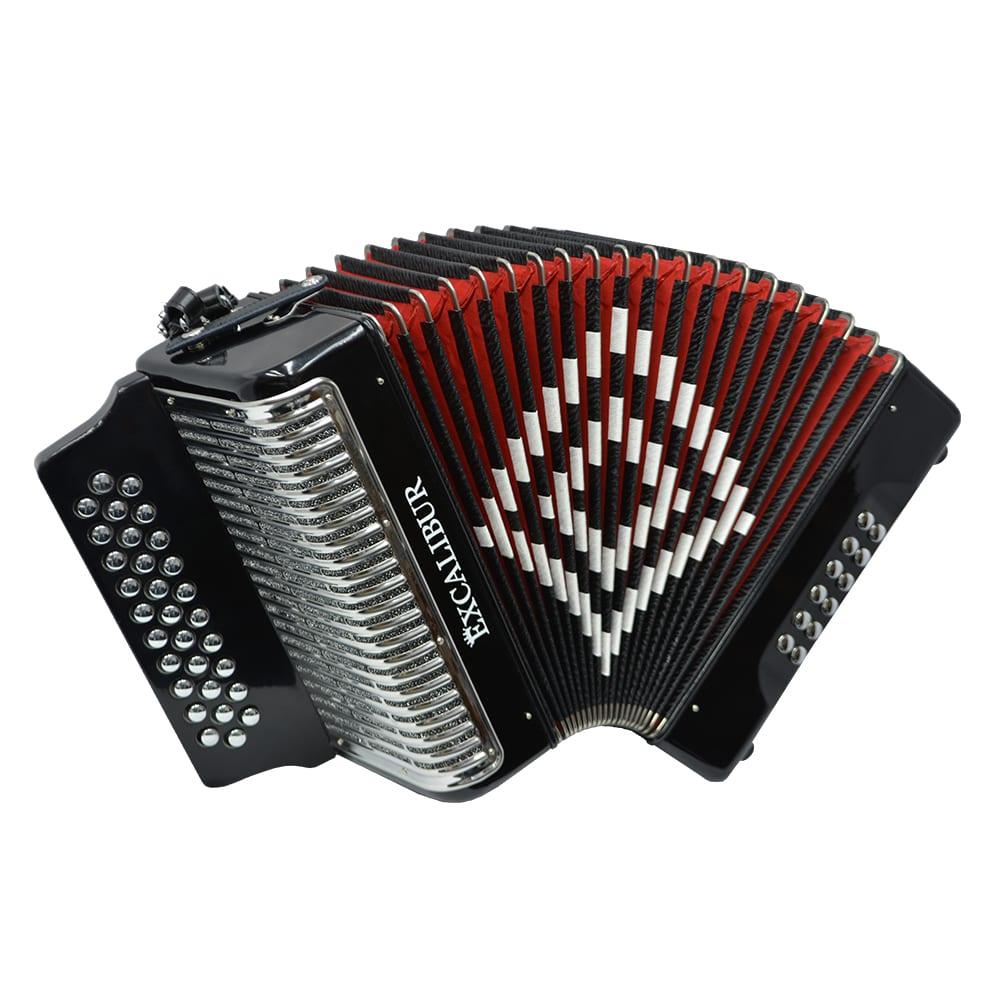 Excalibur Super Classic PSI 3 Row - Button Accordion - Black -  Key of ADG