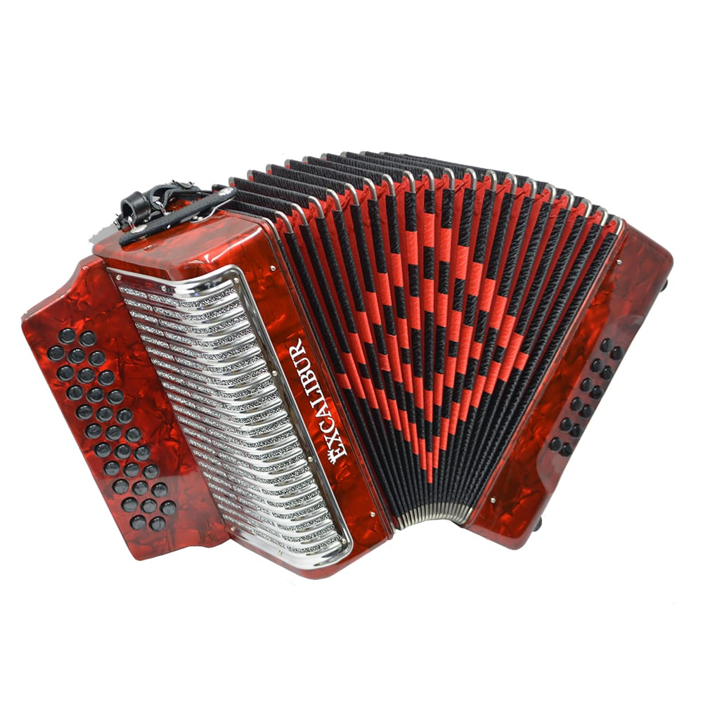 Excalibur Super Classic PSI 3 Row - Button Accordion - Red -  Key of EAD