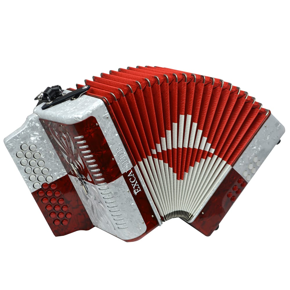 Excalibur Super Classic PSI 3 Row - Button Accordion - Red/White -  Key of FBE