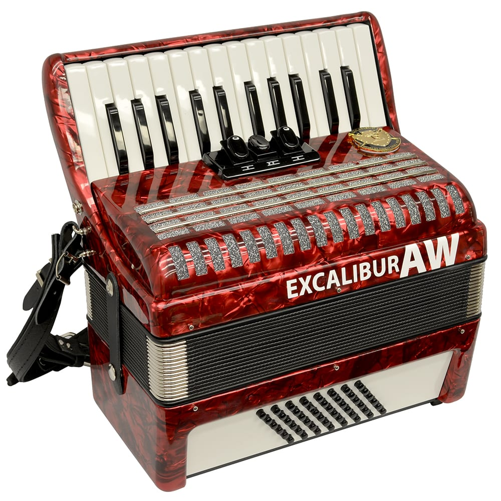 Excalibur Akordeon Werks (AW) 48 Bass Piano Accordion - Pearl Red