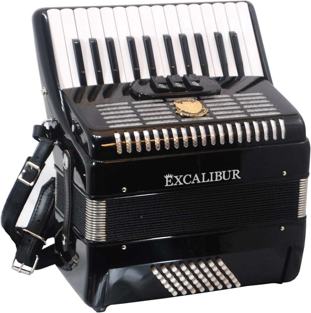 Excalibur Frankfurt 48 Bass Ultralight Accordion - Black