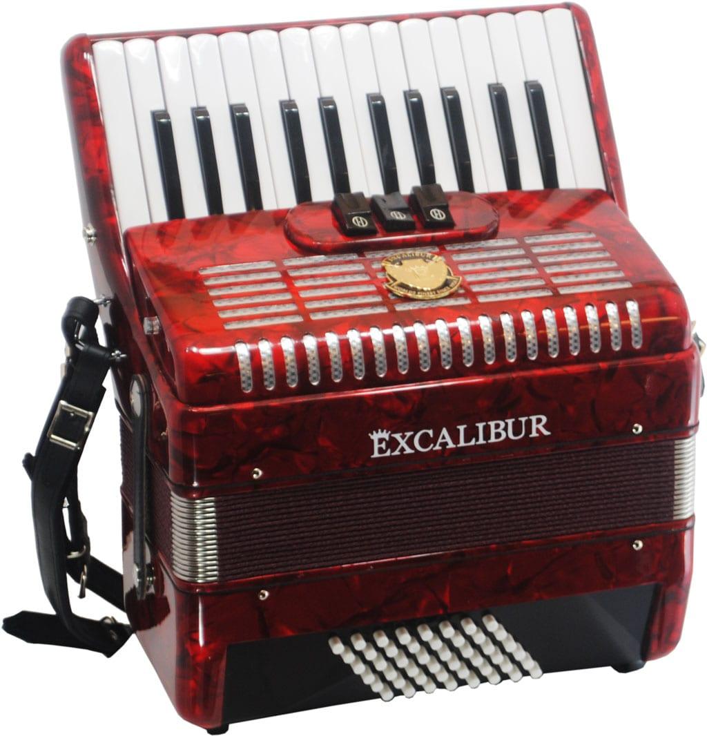 Excalibur Frankfurt 48 Bass Ultralight Accordion - Red