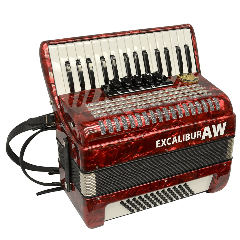 Excalibur Akordeon Werks (AW) 60 Bass Piano Accordion - Pearl Red
