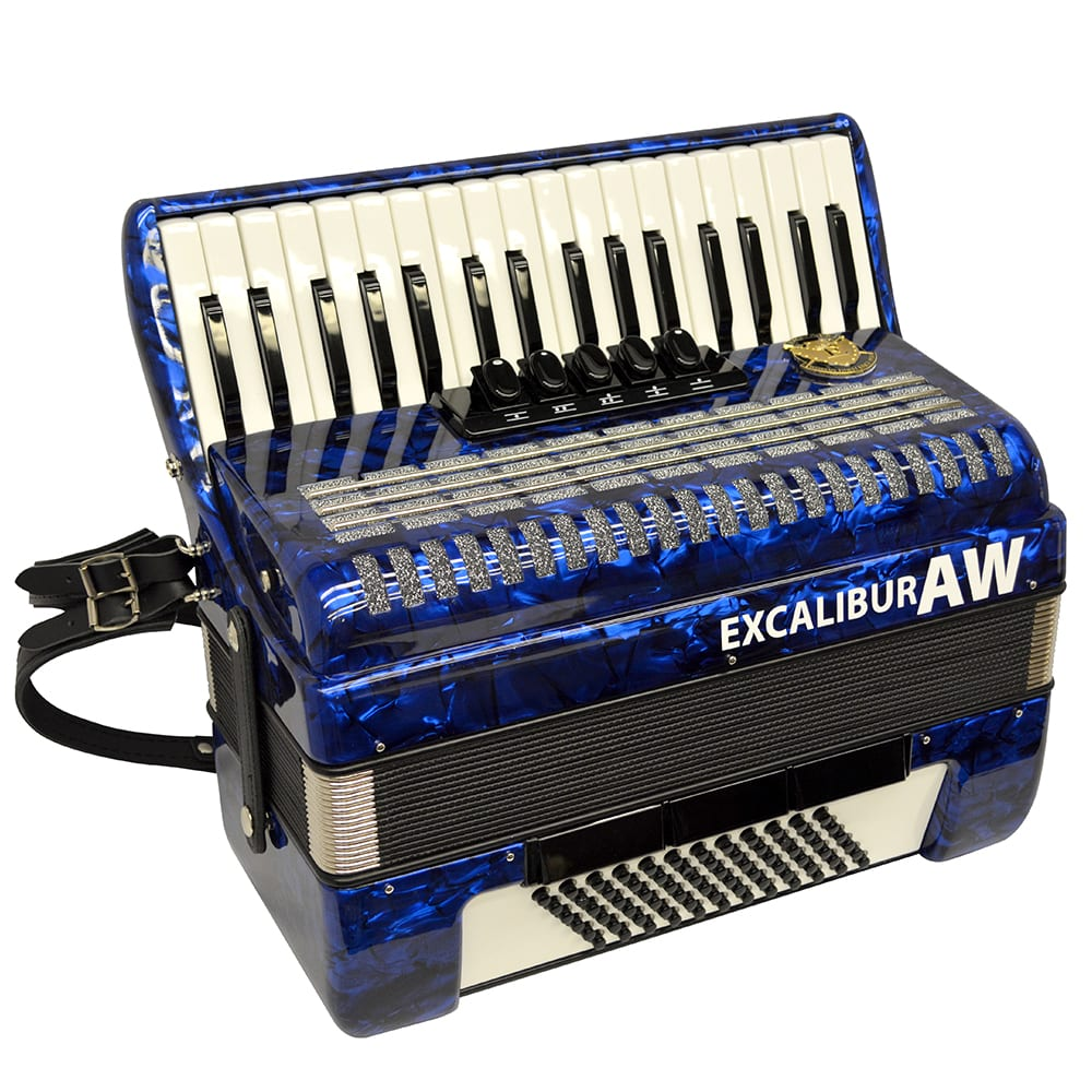 Excalibur Akordeon Werks (AW) 72 Bass Piano Accordion - Pearl Blue