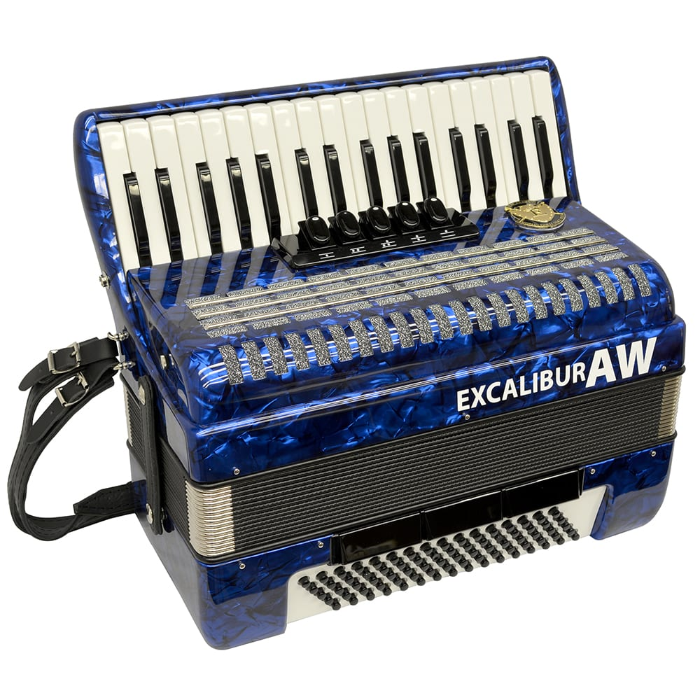 Excalibur Akordeon Werks (AW) 80 Bass Piano Accordion - Pearl Blue