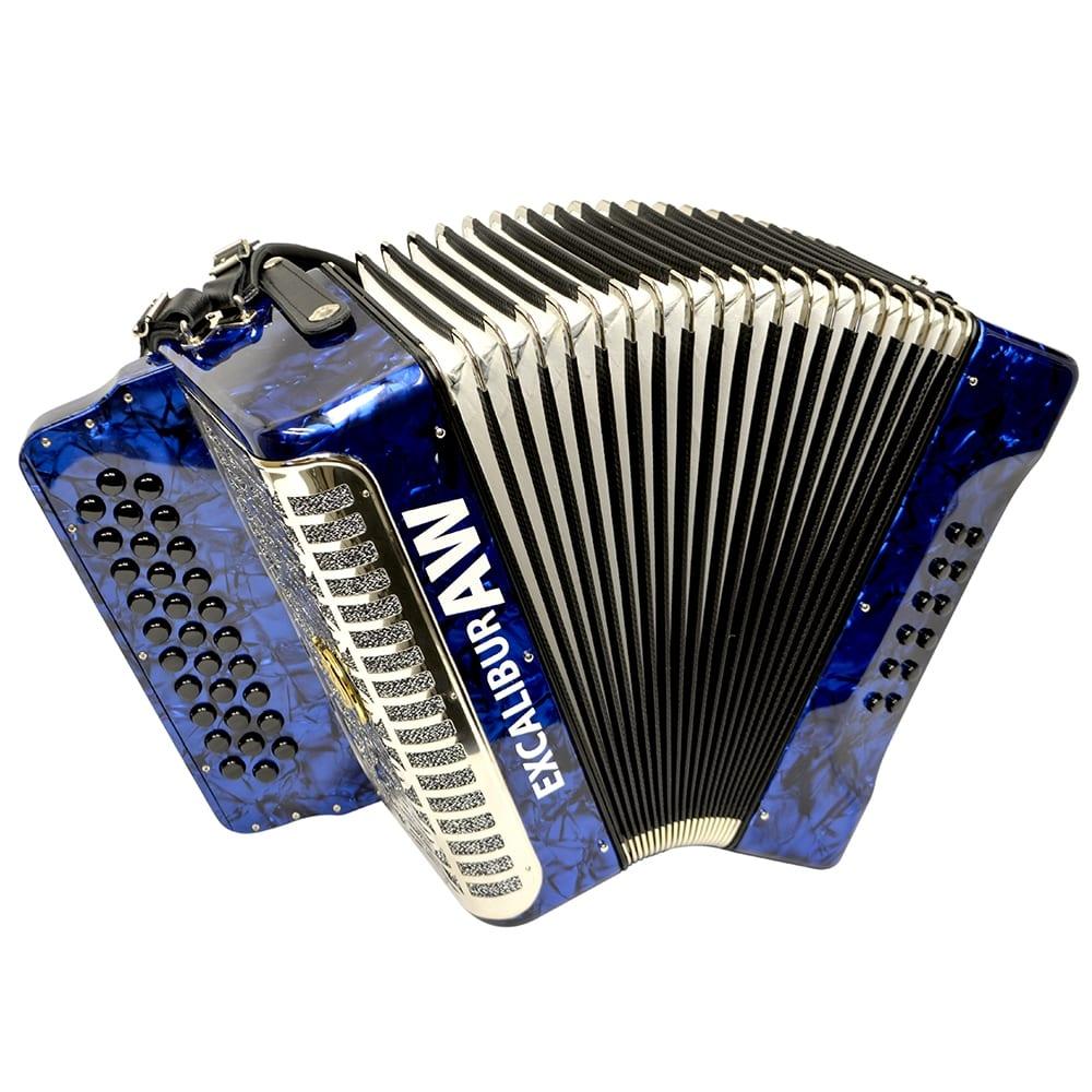 Excalibur Akordeon Werks Button Accordion - Pearl Blue