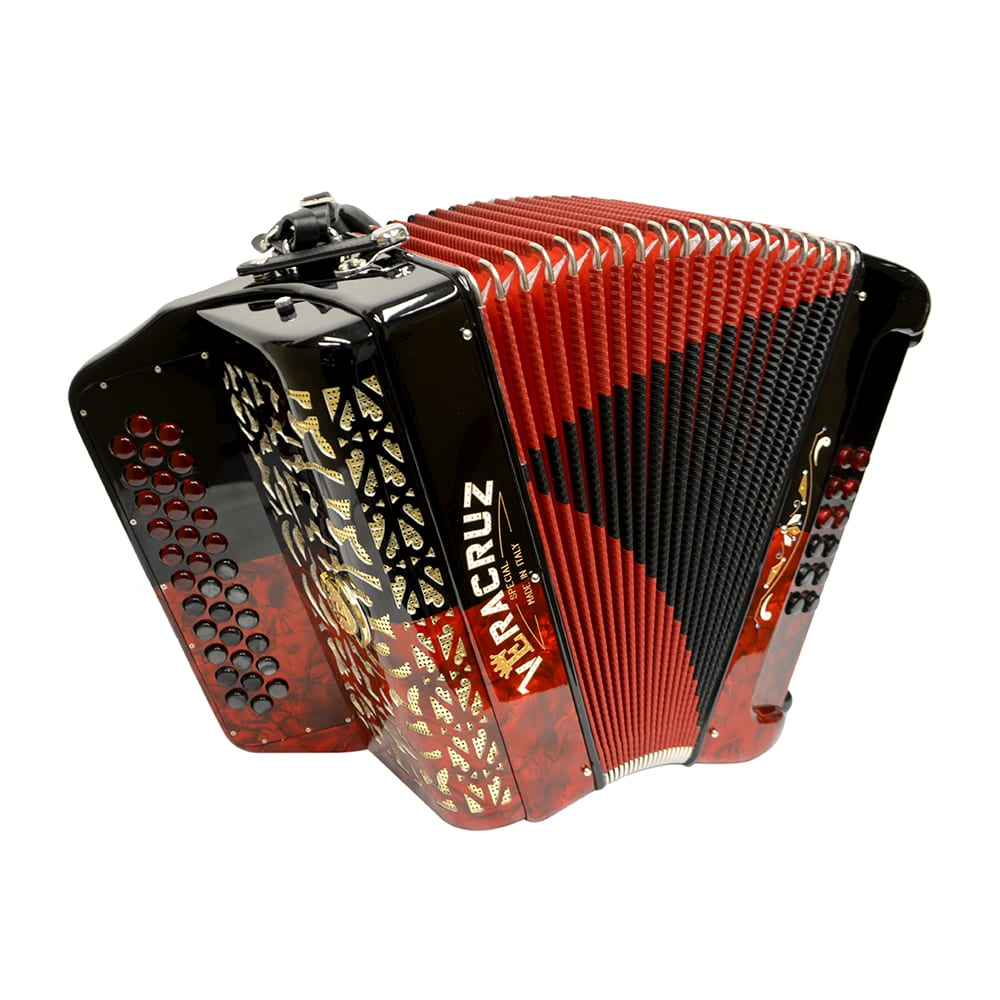 Excalibur Veracruz Button Accordion - Red & Black