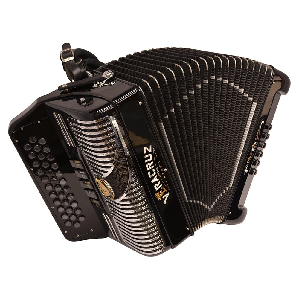 Excalibur Veracruz 5 Switch Button Accordion - Black & Chrome