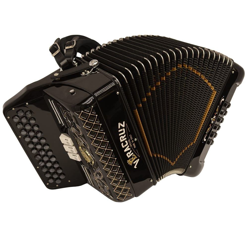 Excalibur Veracruz Italy Special Edition 3 Row Button Accordion Black