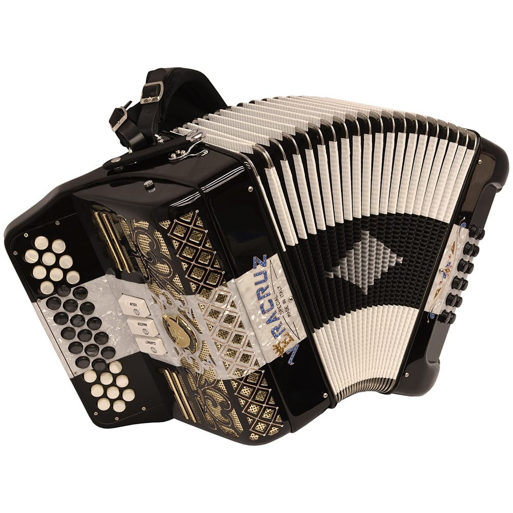 Excalibur Veracruz Special Italy Edition 3 Row Button Accordion Black/White