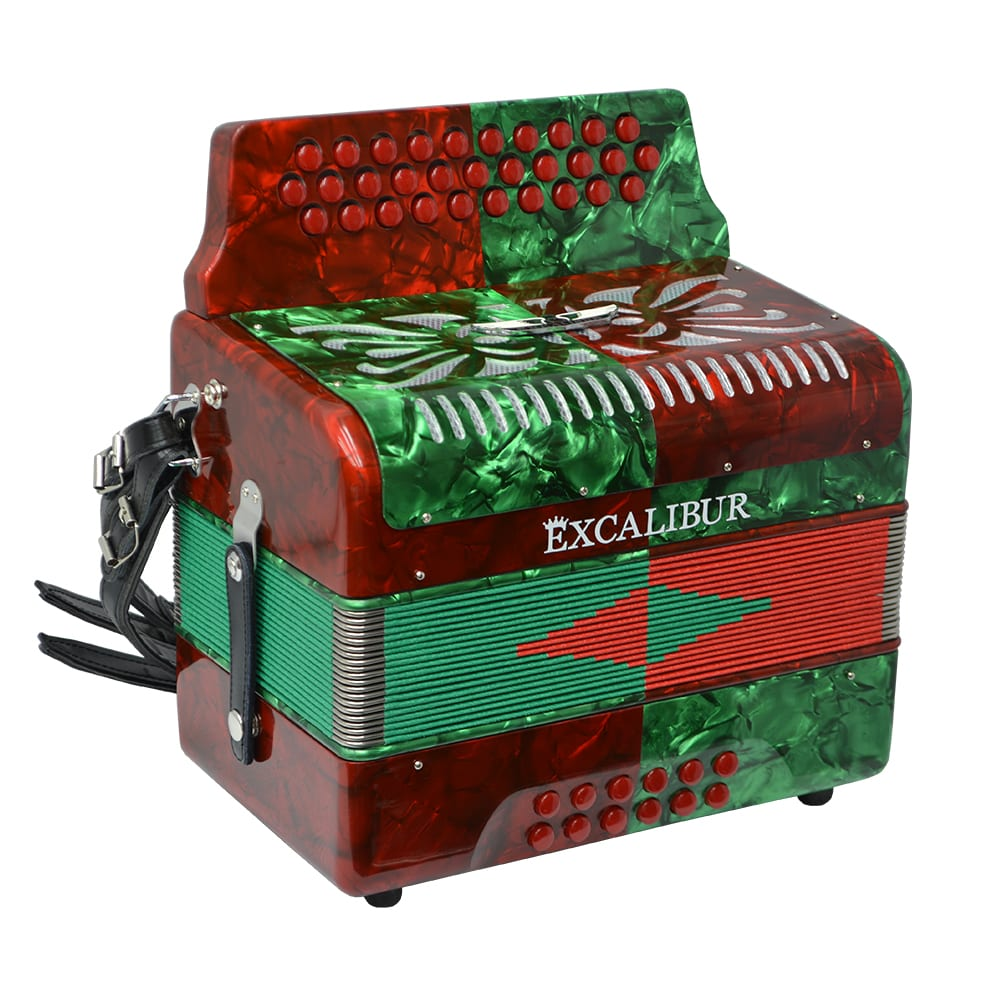 Excalibur Super Classic PSI 3 Row - Button Accordion - Red/Green -  Key of FBE