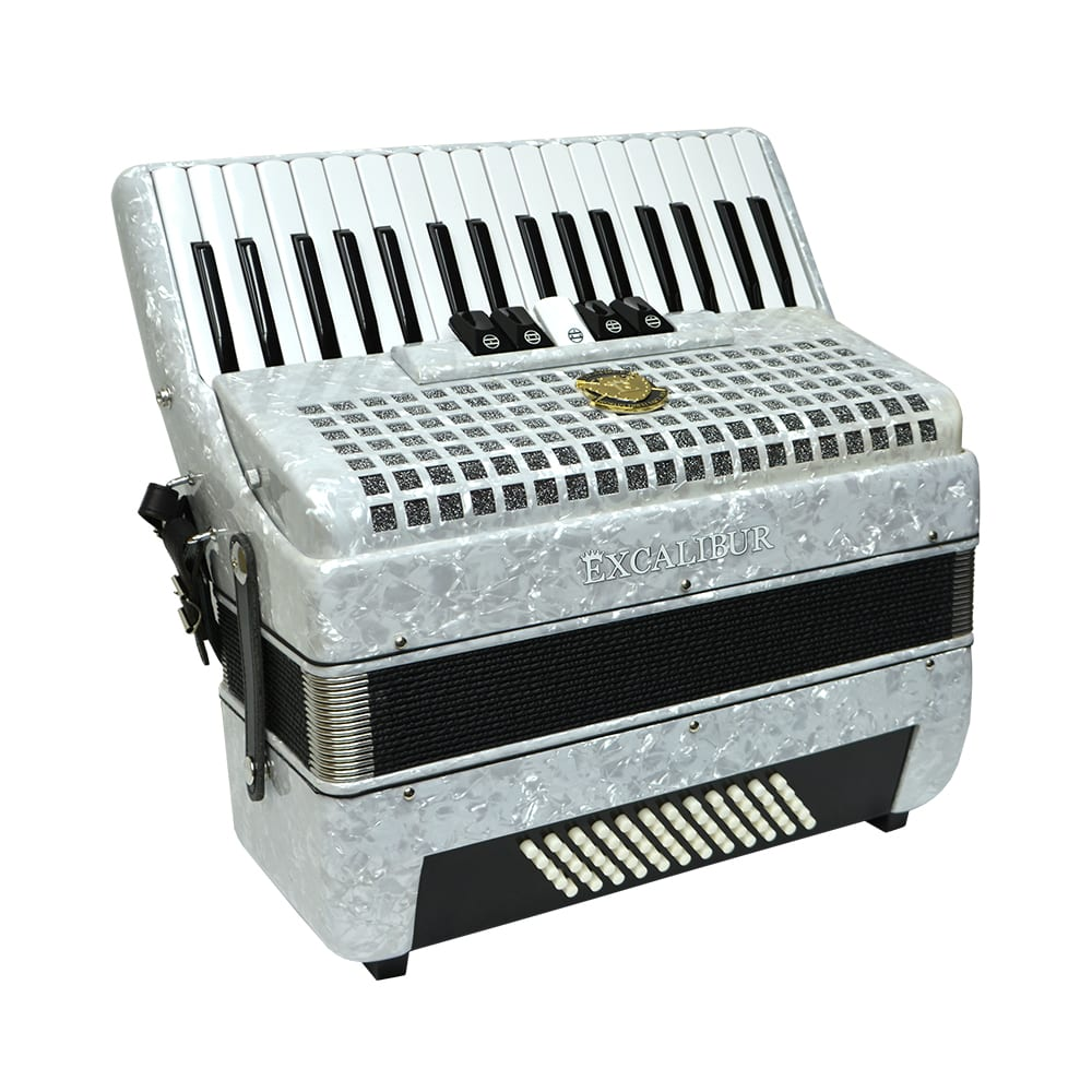 Excalibur Super Classic 60 Bass Piano Accordion - White