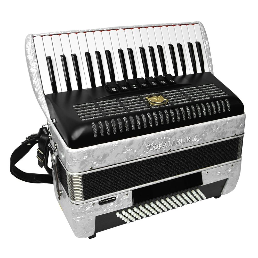 Excalibur German Weltbesten UltraLite 80 Bass Piano Accordion - White
