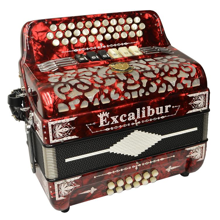 Excalibur Crown Custom Two Tone Button Accordion - Red