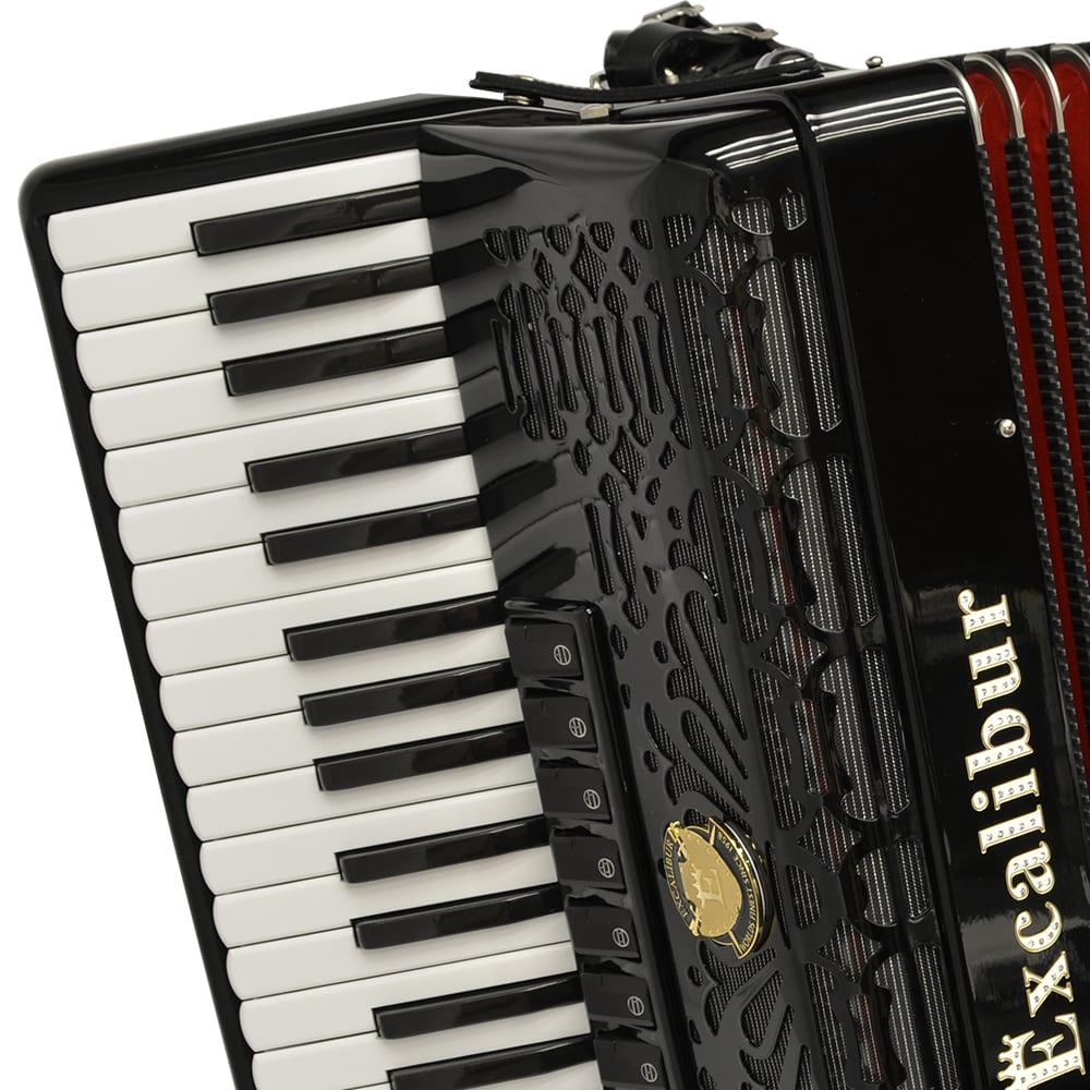 Excalibur Professionale Crown 120 Bass Piano Accordion - Black
