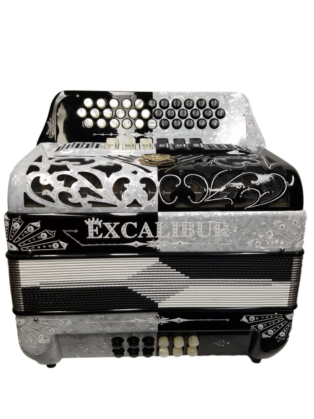 Excalibur Crown Custom Two-Tone 6 Switch Button Accordion White / Black
