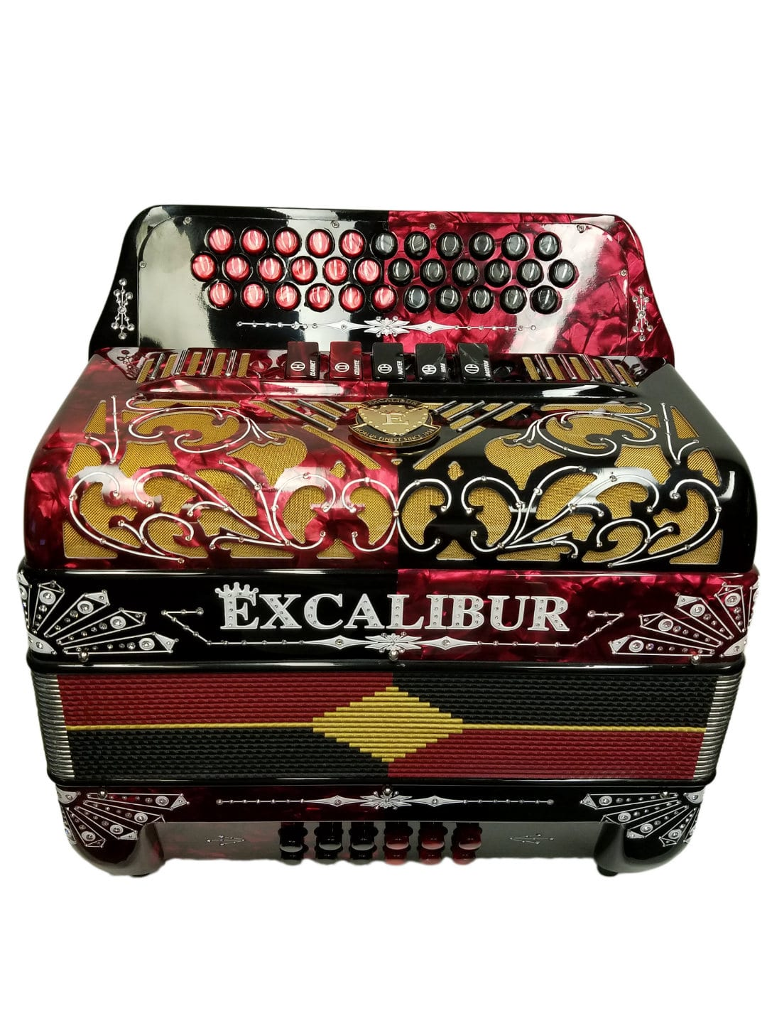 Excalibur Crown Custom Series Two-Tone 5 Switch Button Accordion Red/Black