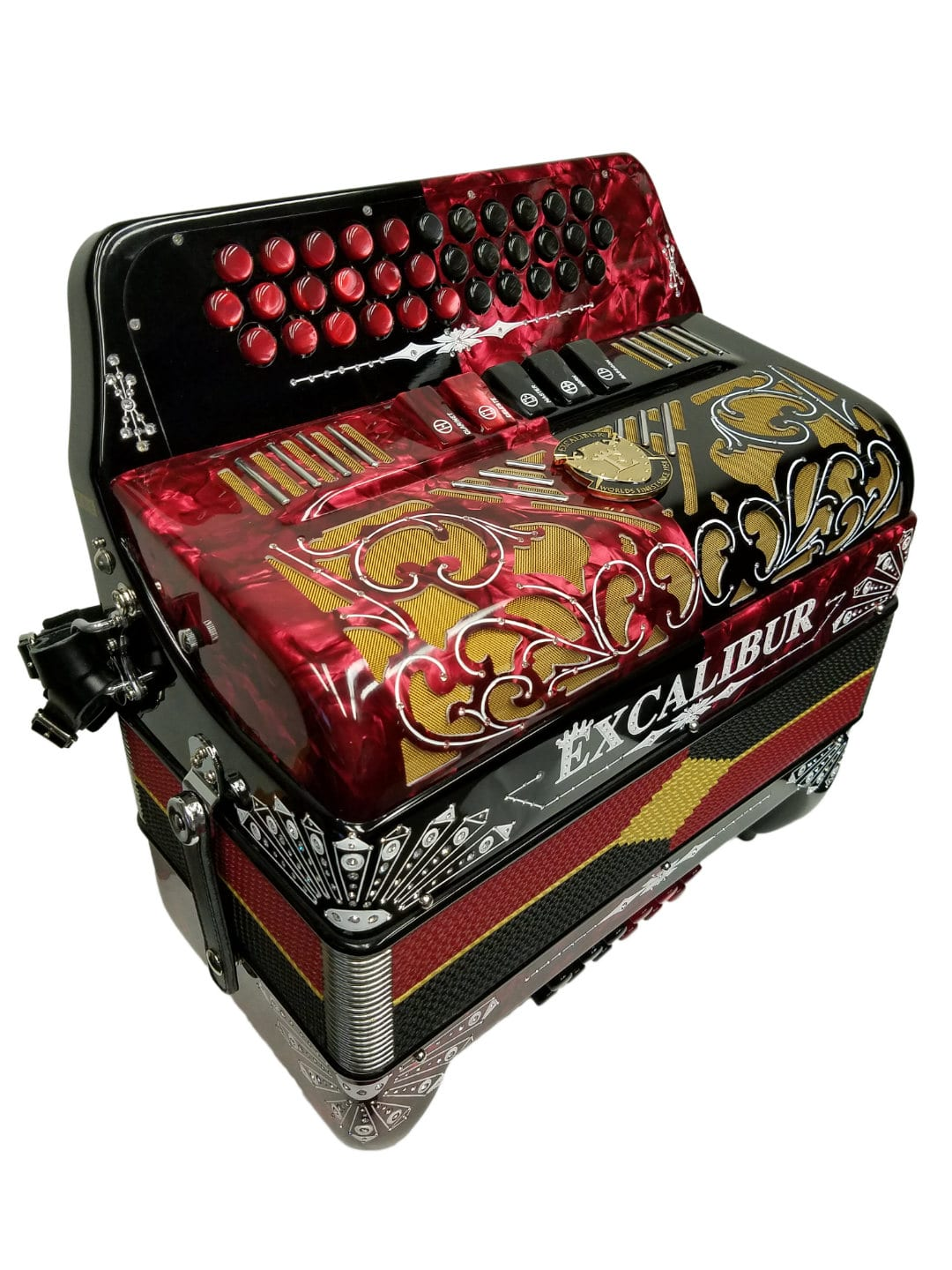 Excalibur Crown Custom Two Tone Button Accordion - Red / Black