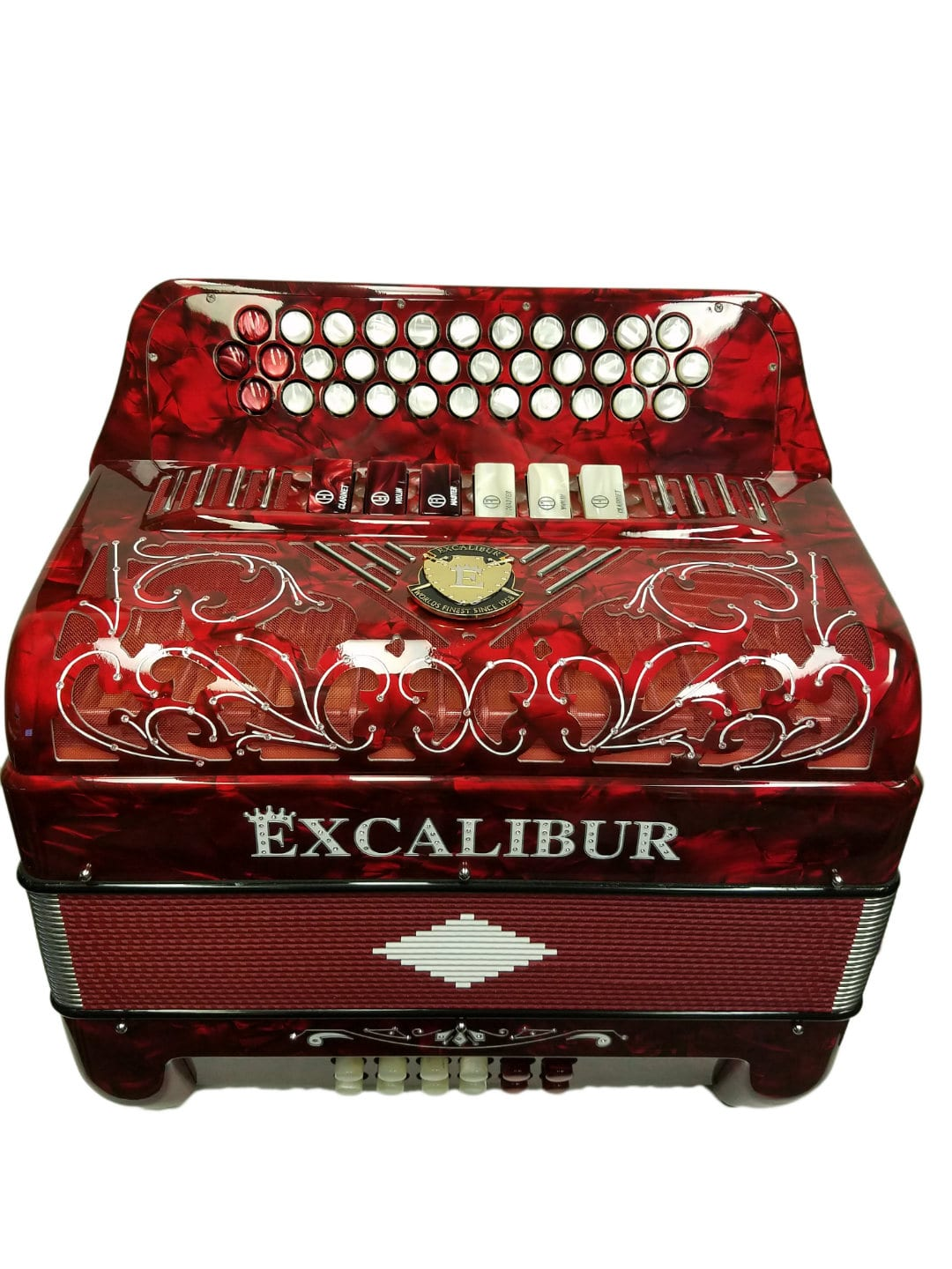 Excalibur Crown Custom Two-Tone 6 Switch Button Accordion Red