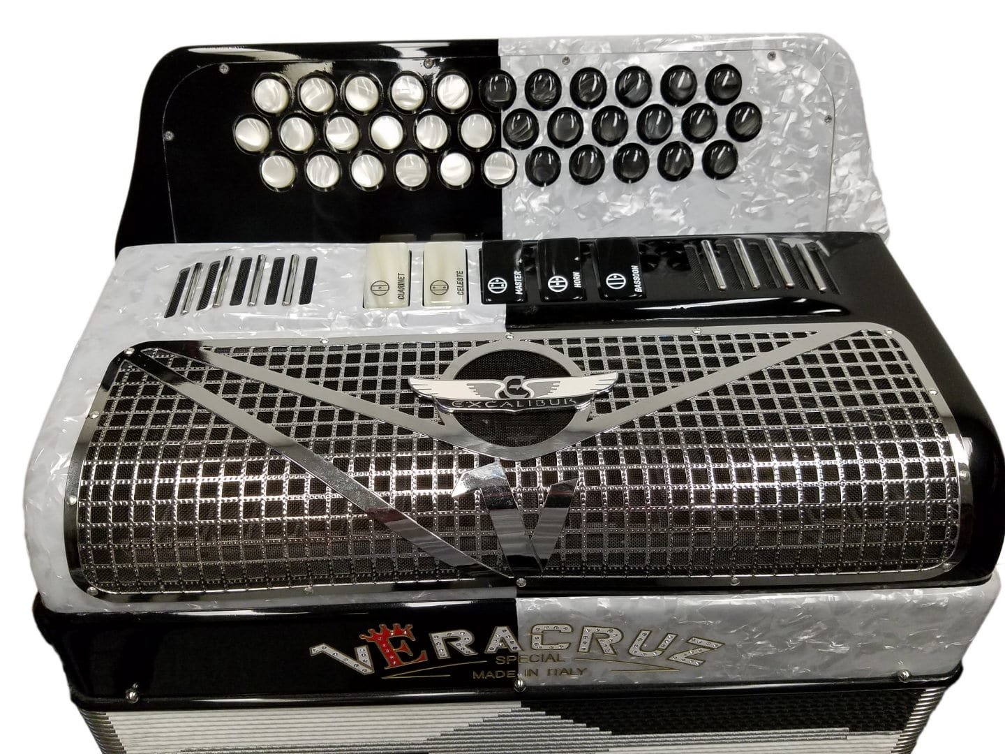 Veracruz Crown Custom Two Tone Button Accordion - White / Black