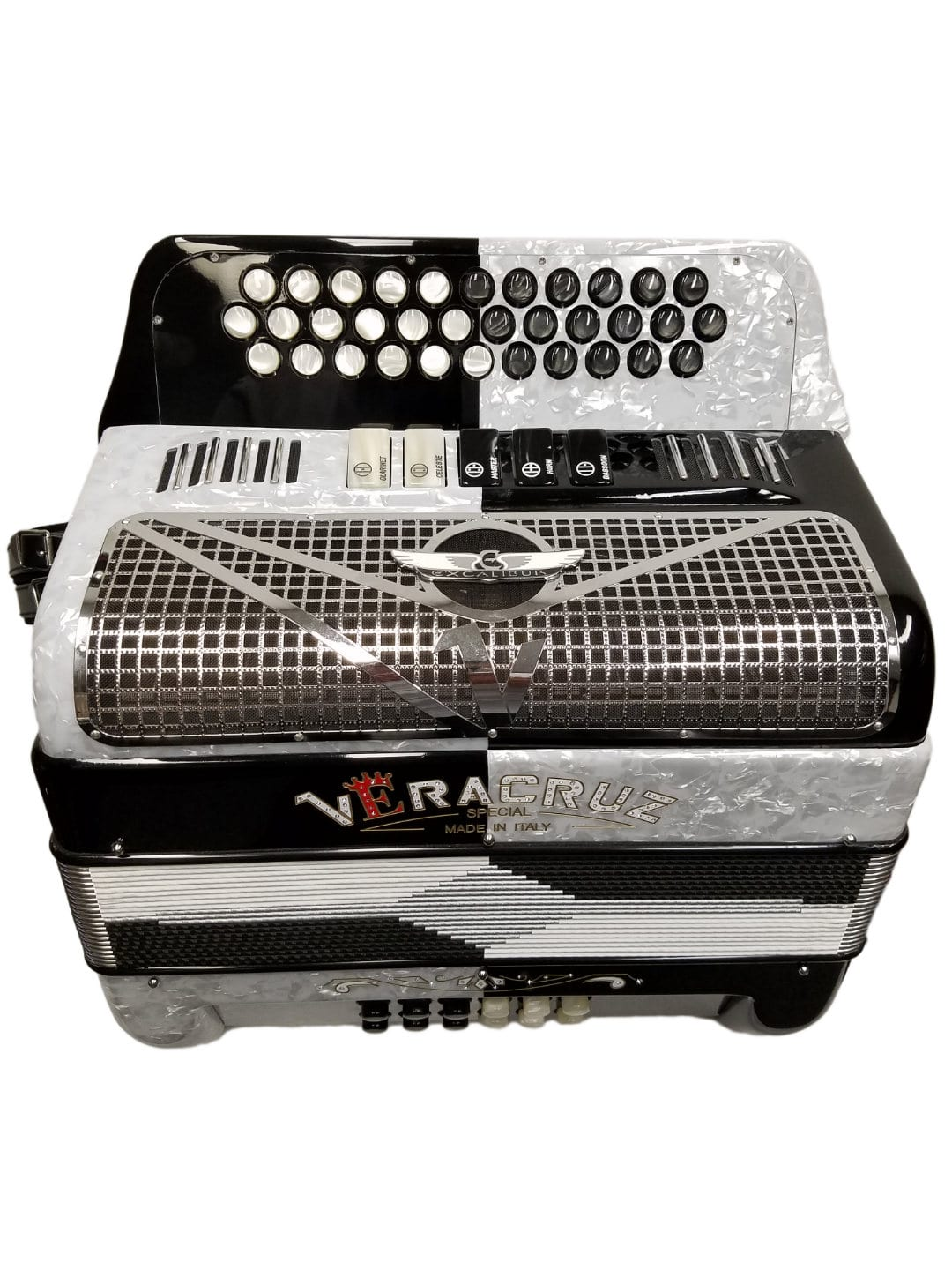 Veracruz Crown Custom Series Two-Tone 5 Switch Button Accordion White/Black