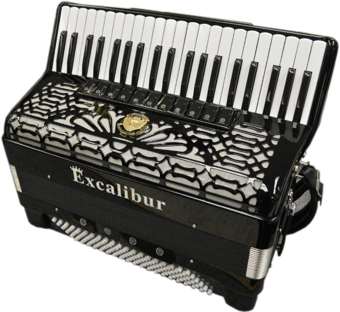 Excalibur Crown Series Triple Musette 120 Bass 11 Switch Accordion - Ebony Polish