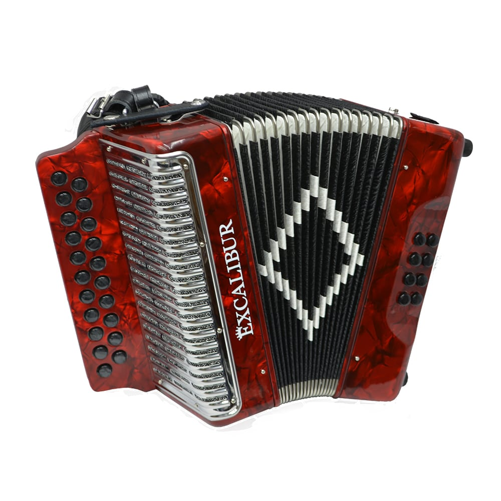 Excalibur Super Classic PSI 2 Row - Button Accordion - Red - Key of GC