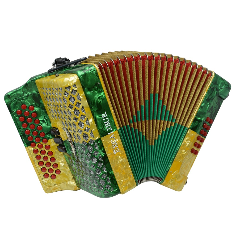 Excalibur Super Classic PSI 3 Row Button Accordion - Gold/Green -  Key of FBE