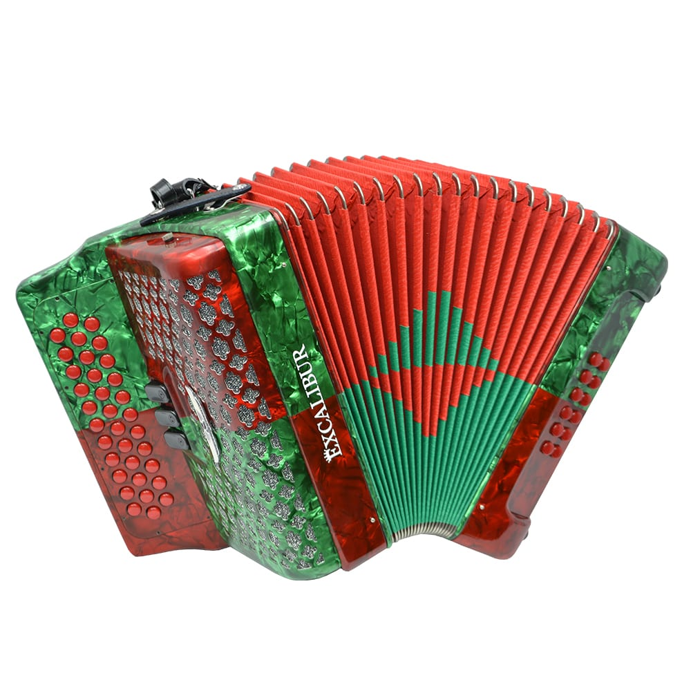 Excalibur Super Classic PSI 3 Row Button Accordion - Red/Green -  Key of FBE