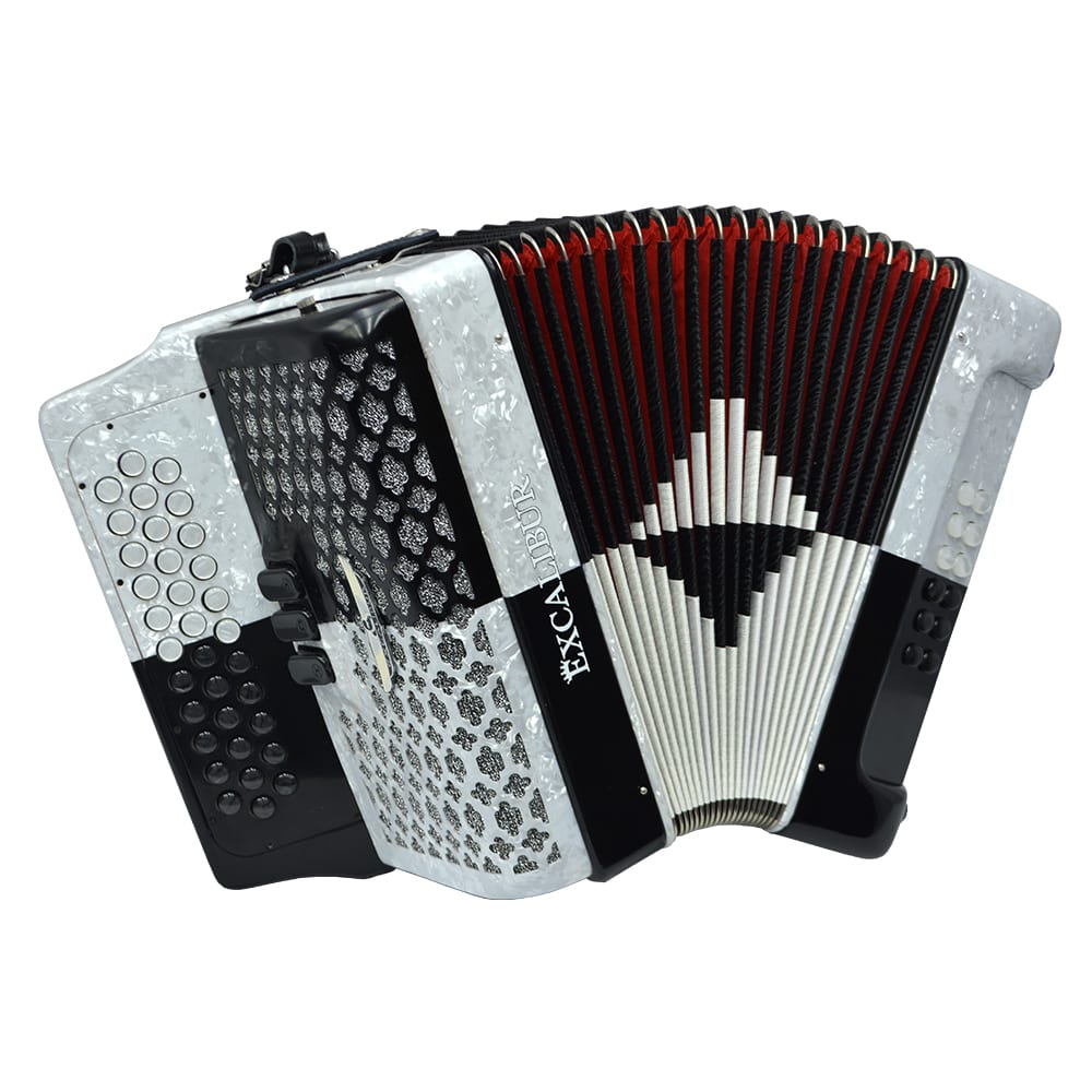 Excalibur Super Classic PSI 3 Row Button Accordion - Black/White -  Key of FBE