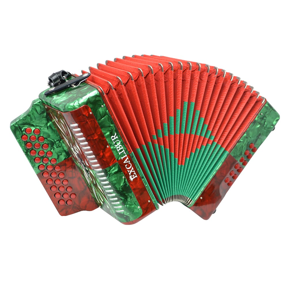 Excalibur Super Classic PSI 3 Row - Button Accordion - Red/Green -  Key of GCF