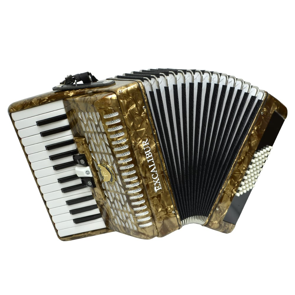 Excalibur Frankfurt 48 Bass Ultralight Accordion - Vintage Gold