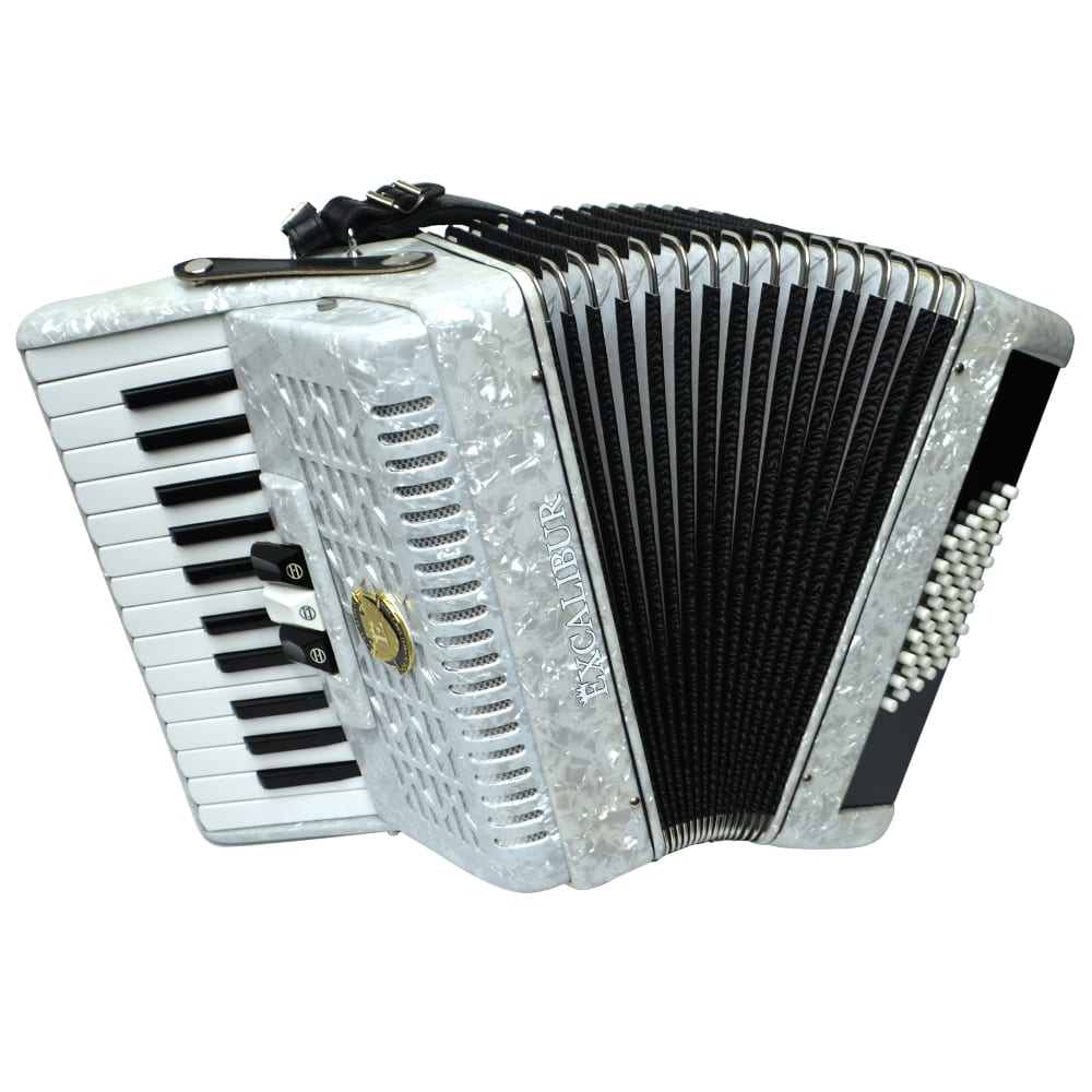 Excalibur Frankfurt 48 Bass Ultralight Accordion - Pearl White
