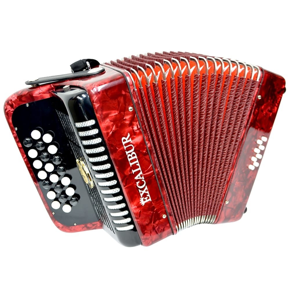 Excalibur Weltbestin 22 Key Chromatic Accordion - Red