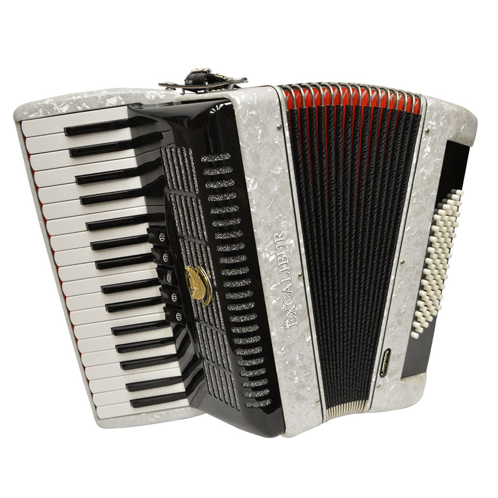 Excalibur German Weltbesten UltraLite 72 Bass Piano Accordion - White