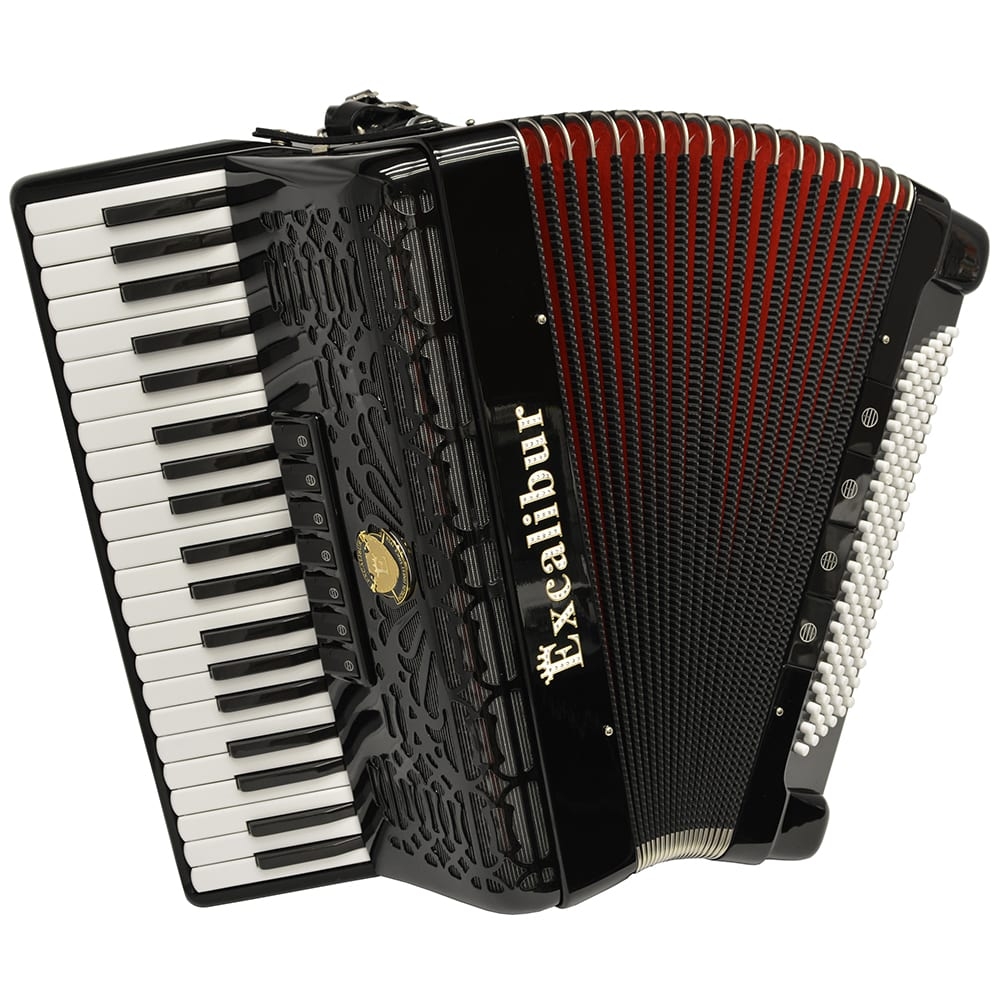 Excalibur Professionale Crown 120 Bass Piano Accordion - Black