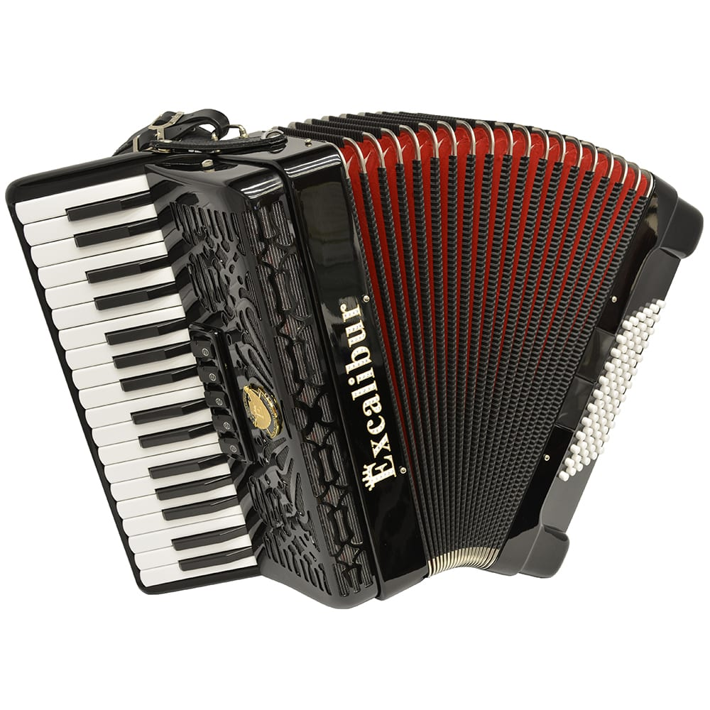 Excalibur Professionale Crown 72 Bass Piano Accordion - Black