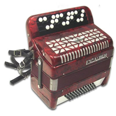 Excalibur Chromatic 72 Bass Accordion - Red