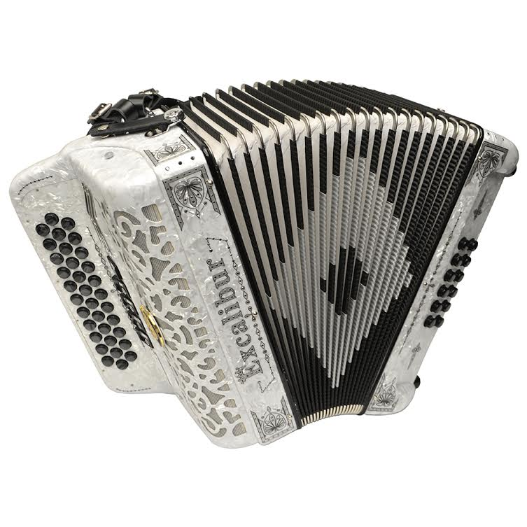 Excalibur Crown Custom 5 Switch Button Accordion - White