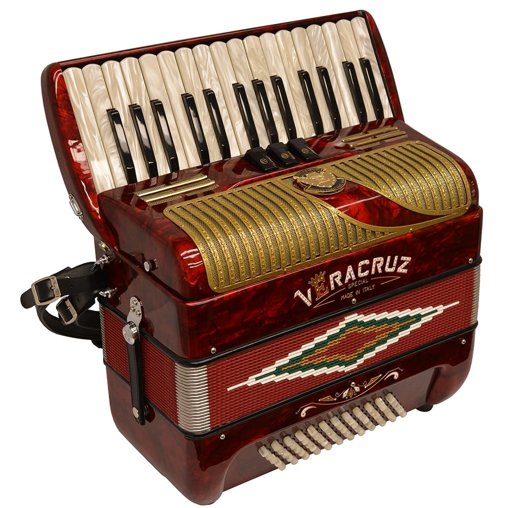 Excalibur Veracruz MII Piano Accordion - Red & Gold