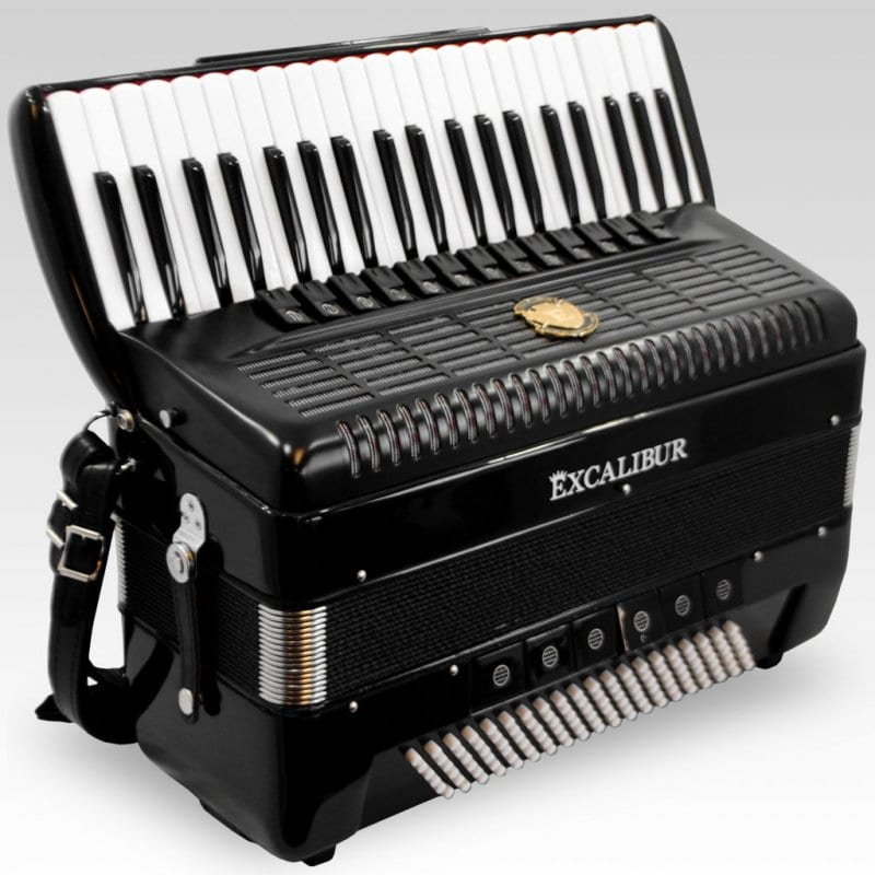 Excalibur German Weltbesten UltraLite 120 Bass 13 Switch Piano Accordion - Satin Polish Ebony