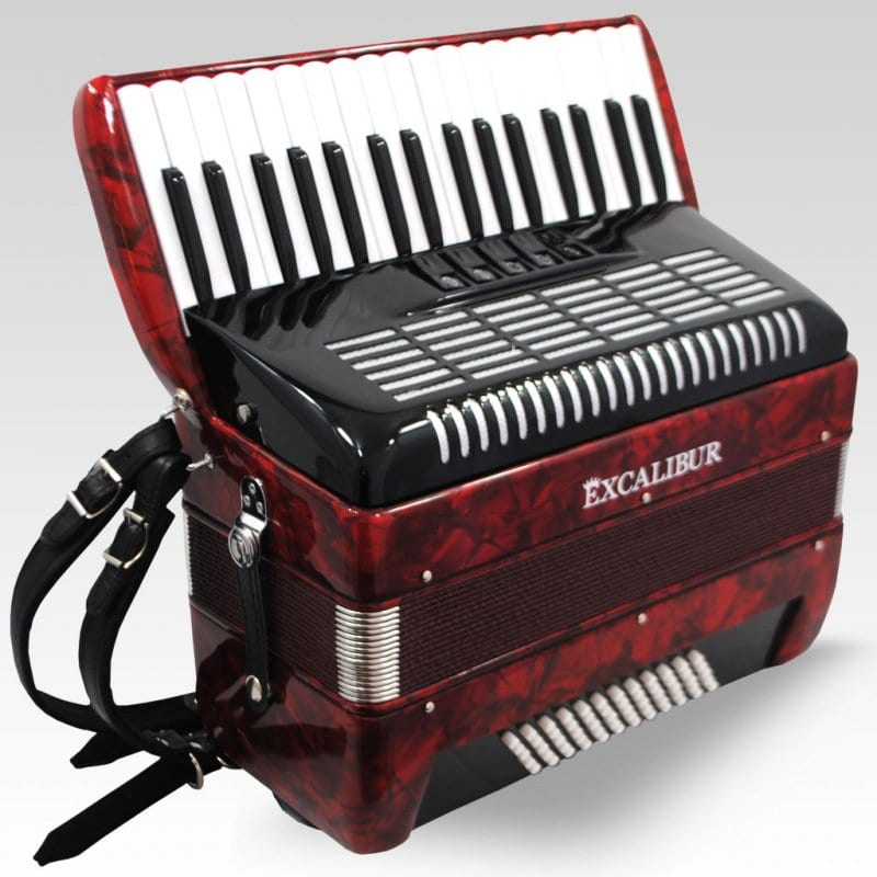 Excalibur German Weltbesten UltraLite 60 Bass Piano Accordion - Pearl Red