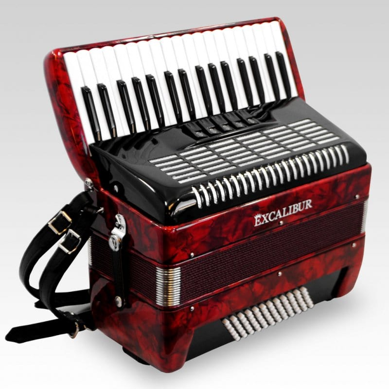 Excalibur German Weltbesten UltraLite 72 Bass Piano Accordion - Pearl Red