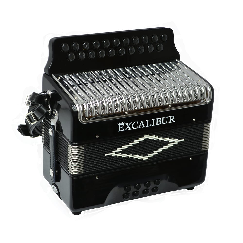 Excalibur Super Classic PSI 2 Row - Button Accordion - Black - Key of GC