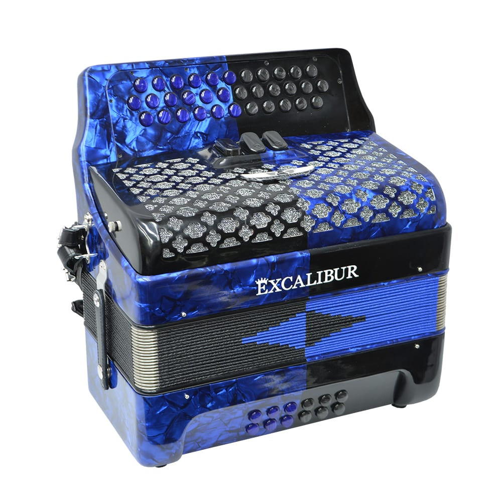 Excalibur Super Classic PSI 3 Row Button Accordion - Blue/Black -  Key of GCF