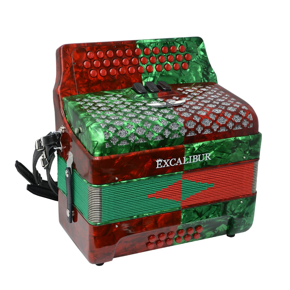 Excalibur Super Classic PSI 3 Row Button Accordion - Red/Green -  Key of GCF