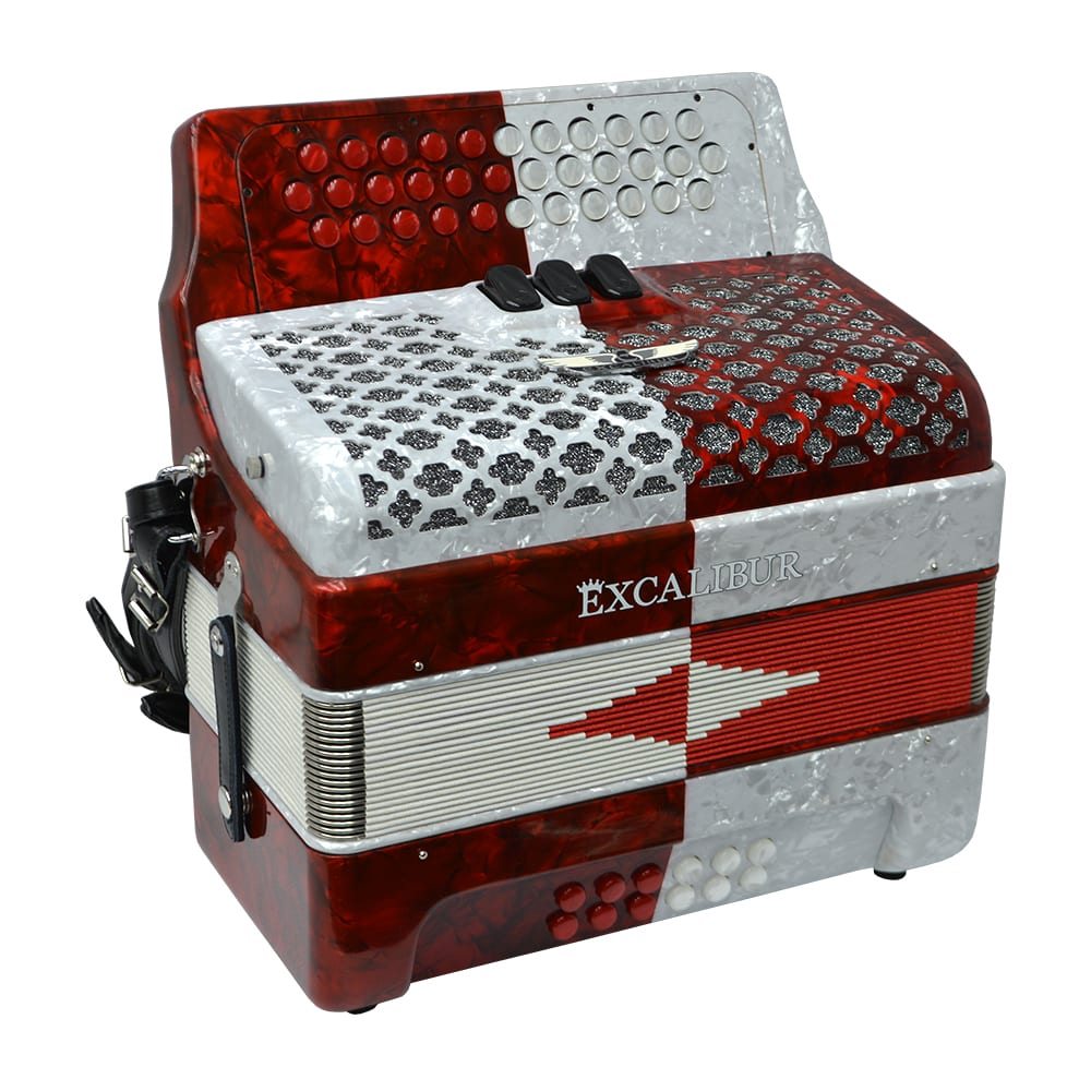 Excalibur Super Classic PSI 3 Row Button Accordion - Red/White -  Key of GCF