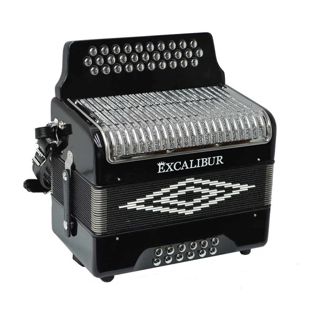 Excalibur Super Classic PSI 3 Row - Button Accordion - Black -  Key of EAD